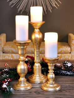 The holiday experts at HGTV.com share instructions for creating festive gold leaf candlestick holders that would make a beautiful centerpiece.