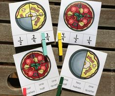 Pizza Fraction Clip It Cards - Playdough To Plato - Food: Veggie tables Fractions For Kids, Pizza Fractions, Teaching Fractions, Teaching Math, Dividing Fractions, Multiplying Fractions, Equivalent Fractions, Kindergarten Math, Fraction Games