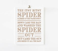 Itsy Bitsy Spider Nursery Rhyme // Children's Art Print // kids wall art // Mother Goose Nursery