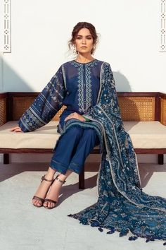 Lawn Suits, Back Patch, Indian Designer Wear, Baroque, Kimono Top, Trousers, Chiffon, Sari, Pakistani