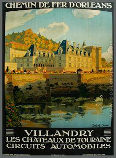 Vintage Railway Travel Poster - Villandry - Les Chateaux de Touraine.