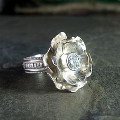 Winter Rose ring with 5mm Moissanite   ....from LavenderCottage on Etsy