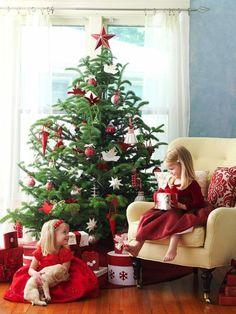 Weichnachtsbaum natürlich kaufen Schmuck im Rot und Weiß