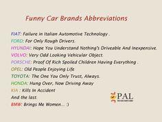 Funny Car Brands Abbreviations.....