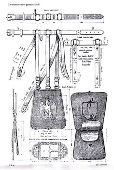 Sabretache work drawing showing detail of the straps and the inside of the flap… Leather Apron, Sewing Leather, Leather Pattern, Leather Pouch, Leather Craft, Leather Bags, Leather Cord, Working Drawing, Small Leather Bag