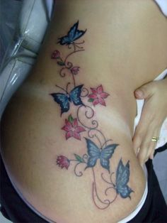 Tatuagens Femininas de Borboletas coloridas                              …