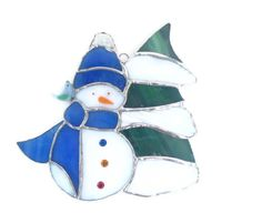 Snowman Stained Glass Suncatcher Christmas tree by Nostalgianmore, $55.00