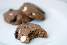 GF Triple Chocolate Chip Cookie - If you are looking for healthy gluten free cookies, leave the white and milk chocolate chips out of this recipe. The result?  A double dark chocolate chip cookie, made from high protein almond flour and anti-oxidant rich dark chocolate.