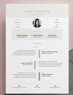 Resume / CV Template - Ruby page) Our design, 'Ruby', contains a professional two page design with a minimalist 'timeline' design theme. Everything is editable including fonts and colors so be sure…More Graphic Design Resume, Resume Design Template, Cv Template, Resume Templates, Resume Layout, Resume Cv, Portfolio Layout, Portfolio Design, Cv Photoshop