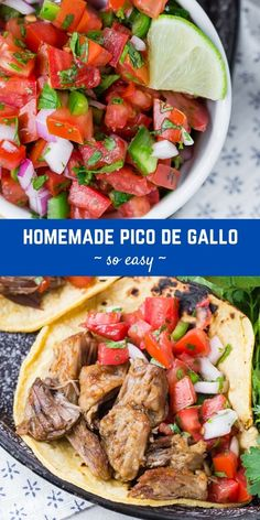 Perfect with crisp tortilla chips or pretty much anything else, you can make your own authentic fresh pico de gallo with only six ingredients! Mexican Dishes, Dip Recipes, Mexican Food Recipes, Dinner Recipes, Cooking Recipes, Ethnic Recipes, Seven Layer Dip, Healthy Food, Healthy Recipes