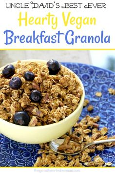 Uncle David's Hearty Vegan Breakfast Granola is a delicious, healthy way to start your day! Amazing Vegetarian Recipes, Delicious Breakfast Recipes, Brunch Recipes, Vegan Recipes, Yummy Food, Fruit Recipes, Vegan Food, Fall Recipes, Sweet Recipes
