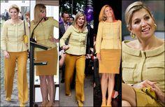 Máxima's favoriete outfits: geel jasje van modehuis NATAN; v.l.n.r. 2010 China, 2010, 2010, 2011, 2012