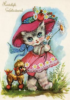Vintage congratulations Postcard with sweet cat by CuteEyeCatchers, €3.50
