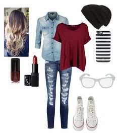 """""""#SoMe"""" by haileywwe ❤ liked on Polyvore featuring Current/Elliott, Phase 3, LE3NO, Boohoo, Converse, Kate Spade, NARS Cosmetics, converse, jeans and maroon"""