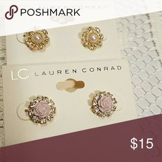 2 Pairs LC Lauren Conrad Stud Earrings Gold tone Flower Faux Pearl Center & Simulated Crystals Center Light Purple Resin Flower Stud Earrings LC Lauren Conrad Jewelry Earrings