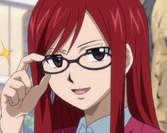 Erza (fairy tail) with glasses