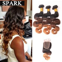 7A Ombre Brazilian Hair Lace Frontal Closure with Bundles Ombre Weave Wet and Wavy Brazilian Body Wave With Frontal Closure BW -- Details on product can be viewed by clicking the image