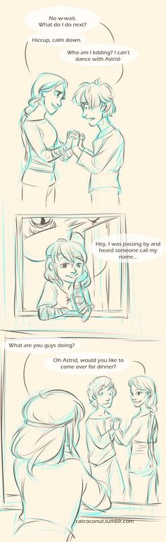 Hiccups dance lessons by catcoconut on tumblr < Aw, cute! Look at Hiccup being all nervous and adorable. Hehe. :)