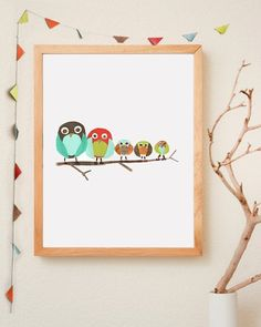 DIY owl wall art! More wall decor @KD Eustaquio Bilodeau.  There's owl wallpaper. The baby owls are really cute.