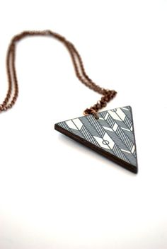 Wood Pendant Necklace  Navajo Triangle pendant by mmimdesigns, $24.00