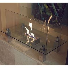 Nu-Flame Fiero Freestanding Floor Fireplace (3 burners *burns up to 3hrs per fill), Clear (Glass)
