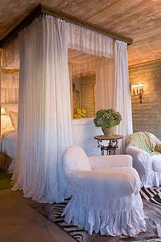 Soft bedroom-- and I so love those slipcovers...