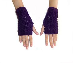 Hand Knit Fingerless Gloves in Purple Trinity by naryaboutique, $23.00