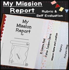 California Mission report! ~  report blacklines, directions, rubric, and student self evaluation ~ 4th Grade, 5th Grade, 6th Grade