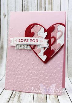 Nicole Wilson Independent Stampin' Up!® Demonstrator SUO Challenge #167 & Fab Friday Sketch Challenge #105 - Bloomin' Love, Love Notes and Sweet and Sassy Framelits with Falling Petals Embossing Folder. Colours Real Red, Blushing Bride, Pink Pirouette and Whisper white with a touch of Silver www.facebook.com/NicoleWilsonStamp #stampinup #love #valentines #occasions