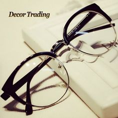 Fashion Cat Eye Half Metal Frame Glasses For Women/Men Retro Vintage Unisex Glasses Big Frame Slim Face Eyewear Glasses 29417                                                                                                                                                                                 Más