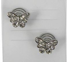 Curlies in de vorm van een vlinder en bezet metstrass steentjes. De vlinder heefteen doorsnede van 1.4cm.Je draaitde curlies makkelijkinopgestoken haar. Mooiom in het haar te dragen tijdens een sjieke party of met een bruiloft.