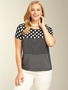 Mixed-Dot Top - Our playful short-sleeved top in beautiful silk crepe de Chine. A wear-to-work favorite (especially under a blazer), yet still perfect for evenings. Back button keyhol; Short sleeves; Above hip length; 100% silk crepe de Chine; Dry clean; Imported. From Talbots