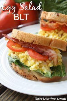 Egg Salad BLT on MyRecipeMagic.com Perfect for your leftover Easter hardboiled eggs! #eggsalad #blt