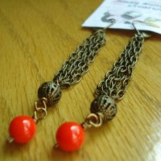 Sleek - Red-Orange Czech glass and Brass earrings!