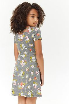 99550c6325 Girls Floral Gingham Crisscross Skater Dress (Kids) Forever 21 Girls
