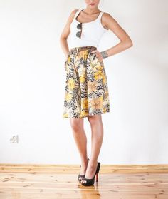 Savanna floral printed exotic skirts pants w Vintage For Ever  na DaWanda.com