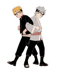 Boruto and Mitsuki, auto correct on my phone thinks Boruto should be Naruto, how cute is that, good job phone ^_^