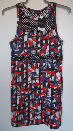 TOPSHOP RETRO MULTI COLOURED SPLASH CUT OUT DRESS SIZE 14 NEW & TAGGED rrp £ 29 #Topshop #Clubwear