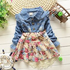 Baby Girl Dresses Denim T-shirts Girls Floral Clothes Ruffles Long Sleeve 1-4 T