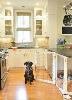 These 26 Small Kitchen Design Ideas Will Give You Major Home Inspo I love how the dog crate is incorporated into the kitchen design! My dog's comfort when he hangs out in the kitchen with me is of high importance (Because he's spoiled). Dog Rooms, Dog Houses, My New Room, My Dream Home, Future House, Sweet Home, New Homes, House Ideas, Indoor
