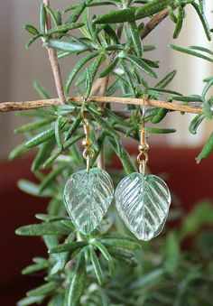 Large pale green glass leaf earrings - simple nature jewelry | $4.50