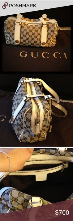 AUTHENTIC GUCCI Gucci, pre loved, in great condition. Has scuff on handle where It is pointed out but does not affect bag and you can not see it. Got this in a trade but it wasn't what I was looking for. I like XL bags, and this is a bigger medium. 12 Wide Gucci Bags