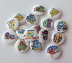 20 x transport buttons  boys buttons cars planes by ArtByBoCanvas