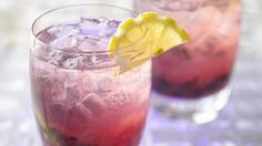 This refreshing hard lemonade combines blueberries with gin and the flavors of mint and lemon.