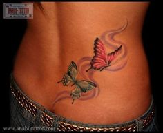 Butterflies Tattoo on the Lower Back