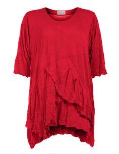 Baumwollshirt mit Volants von D Celli in Rot.Damenmode ab Größe 42 navabi