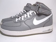 nike air force 1 light grey/white hightop strap size 11 sneakers mens basketball