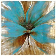 Bright Blue Flower Canvas Art Print (£98) ❤ liked on Polyvore featuring home, home decor, wall art, backgrounds, effects, flower stem, flower wall art, canvas home decor and home wall decor