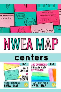 These NWEA math centers are organized by RIT Band! Differentiation is easy with five levels clearly marked! Your students will enjoy test prep with Kaboom games, memory matching sets, clip cards, and true and false sorting. Add these to your small groups and centers to prepare for the NWEA MAP Primary Math assessment! #nwea #maptest