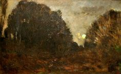 The Athenaeum - Moon Rising in the Forest of Fontainbleau (Charles-François Daubigny - )